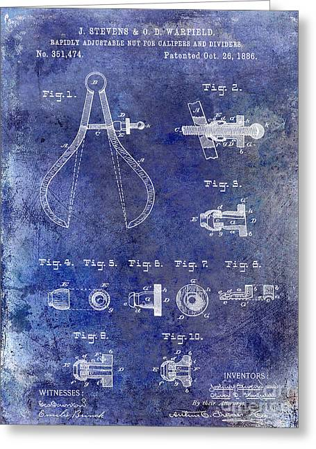 Compasses Greeting Cards - 1886 Caliper and Dividers Patent Blue Greeting Card by Jon Neidert