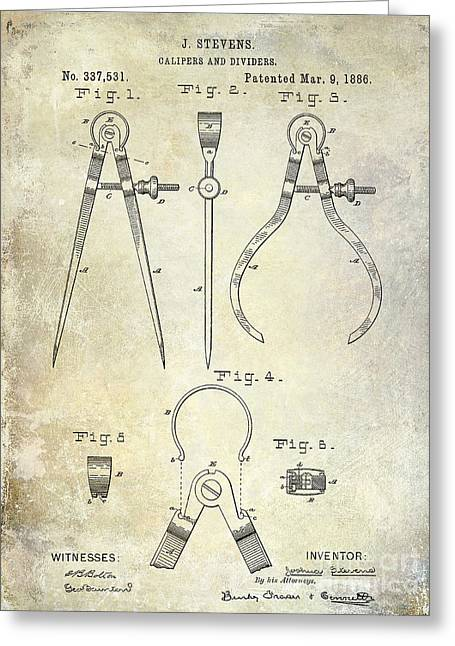Compasses Greeting Cards - 1886 Caliper Patent Greeting Card by Jon Neidert