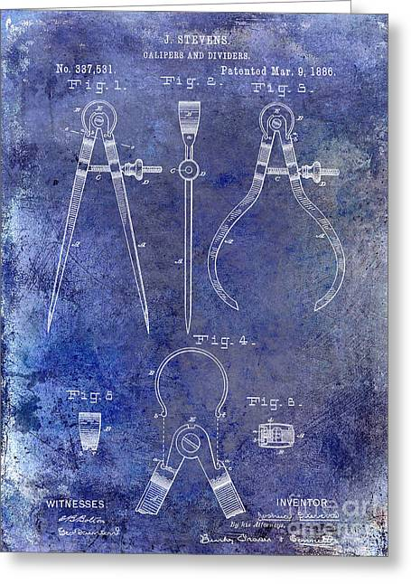 Compasses Greeting Cards - 1886 Calipers Patent Blue Greeting Card by Jon Neidert