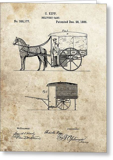 1886 Delivery Cart Patent Greeting Card by Dan Sproul