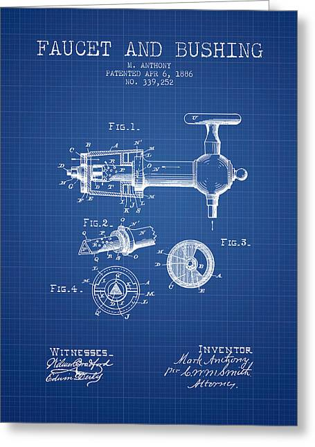 Tap Drawings Greeting Cards - 1886 Faucet and bushing Patent - Blueprint Greeting Card by Aged Pixel
