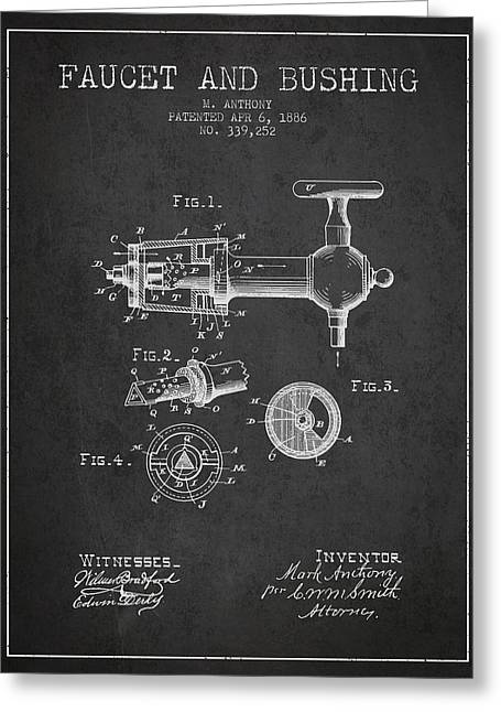 Tap Drawings Greeting Cards - 1886 Faucet and bushing Patent - Charcoal Greeting Card by Aged Pixel