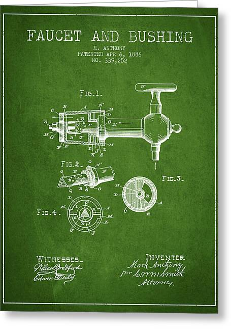 Tap Drawings Greeting Cards - 1886 Faucet and bushing Patent - Green Greeting Card by Aged Pixel