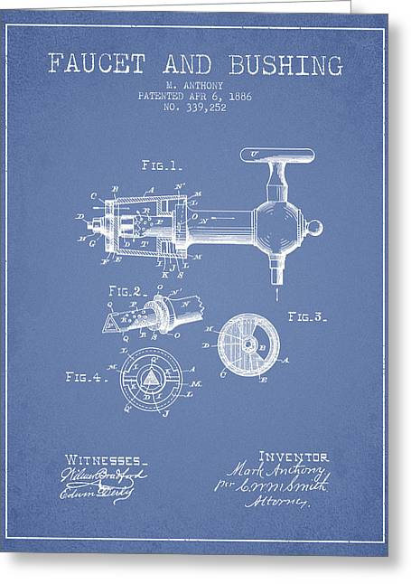 Tap Drawings Greeting Cards - 1886 Faucet and bushing Patent - Light Blue Greeting Card by Aged Pixel