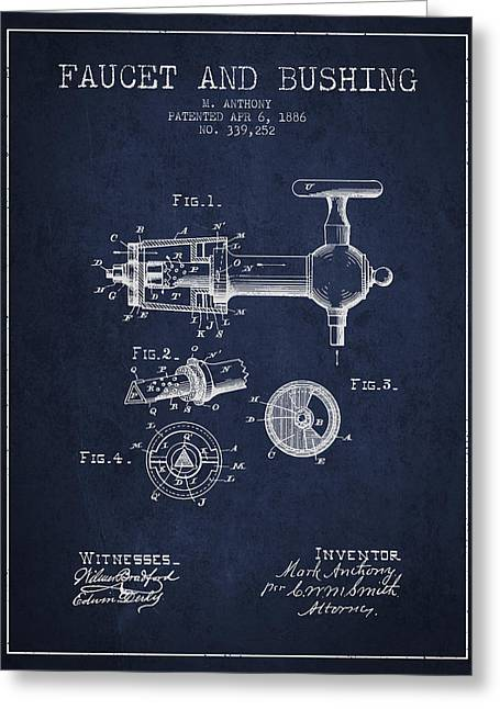 Tap Drawings Greeting Cards - 1886 Faucet and bushing Patent - Navy Blue Greeting Card by Aged Pixel