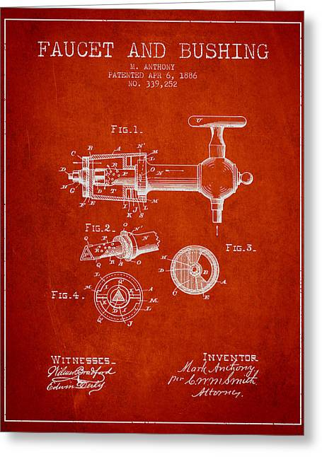 Tap Drawings Greeting Cards - 1886 Faucet and bushing Patent - Red Greeting Card by Aged Pixel
