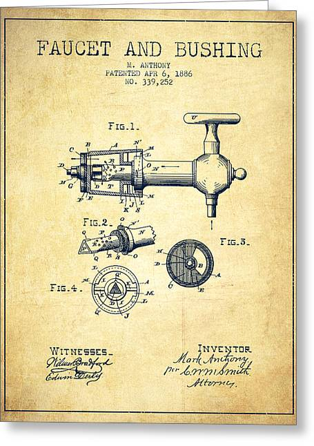 Tap Drawings Greeting Cards - 1886 Faucet and bushing Patent - Vintage Greeting Card by Aged Pixel