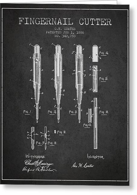 Fingernail Greeting Cards - 1886 Fingernail Cutter Patent - Charcoal Greeting Card by Aged Pixel
