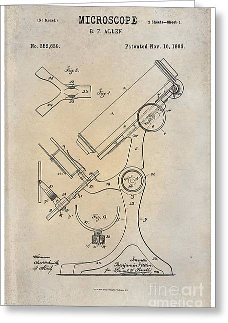 Optical Art Drawings Greeting Cards - 1886 Microscope Patent Art B.F. Allen 1 Greeting Card by Nishanth Gopinathan