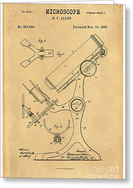 Optical Art Drawings Greeting Cards - 1886 Microscope Patent Art B.F. Allen 3 Greeting Card by Nishanth Gopinathan