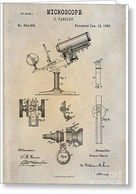 Optical Art Drawings Greeting Cards - 1886 Microscope Patent Art Fasoldt 1 Greeting Card by Nishanth Gopinathan