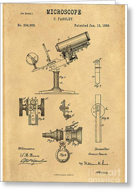 Optical Art Drawings Greeting Cards - 1886 Microscope Patent Art Fasoldt 3 Greeting Card by Nishanth Gopinathan