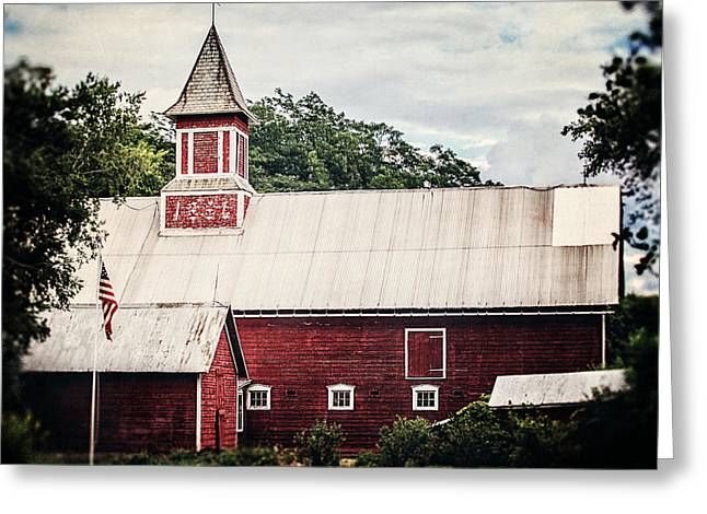 Weathervane Greeting Cards - 1886 Red Barn Greeting Card by Lisa Russo