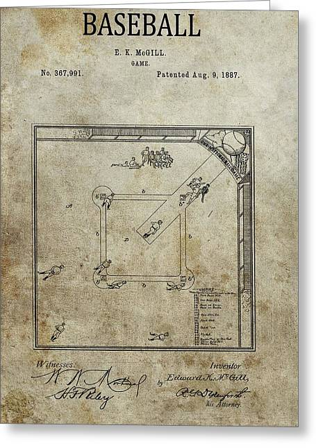 1887 Baseball Game Patent Greeting Card by Dan Sproul