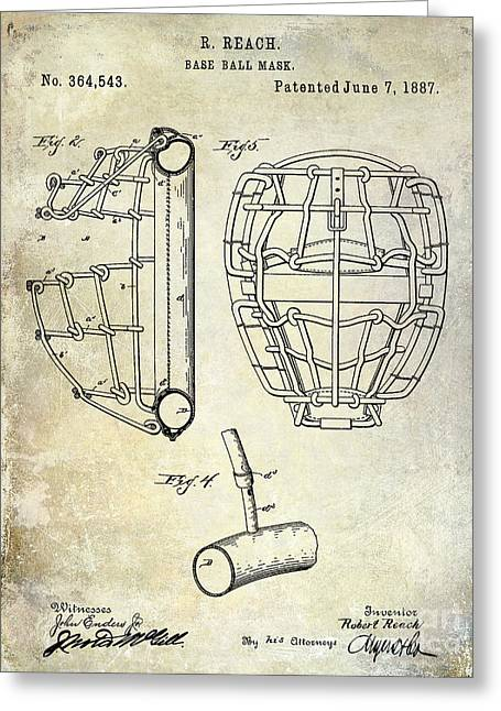 Baseball Gloves Photographs Greeting Cards - 1887 Baseball Mask Patent Greeting Card by Jon Neidert