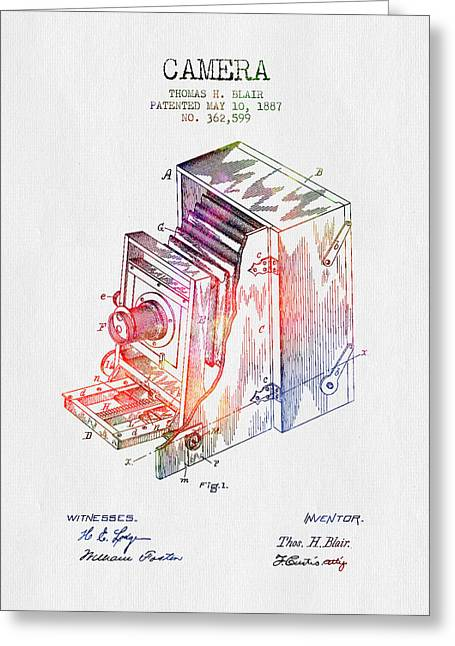 Camera Greeting Cards - 1887 Camera Patent - Color Greeting Card by Aged Pixel