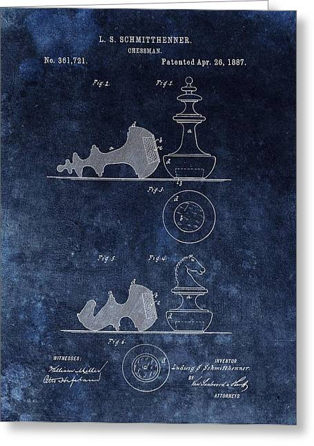Chess Rook Greeting Cards - 1887 Chessman Patent Greeting Card by Dan Sproul