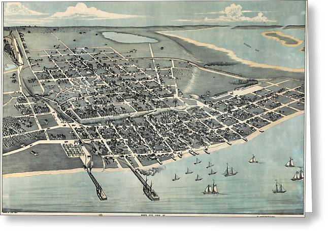 South Padre Island Texas Greeting Cards - 1887 Vintage Map of Corpus Christi Greeting Card by Stephen Stookey