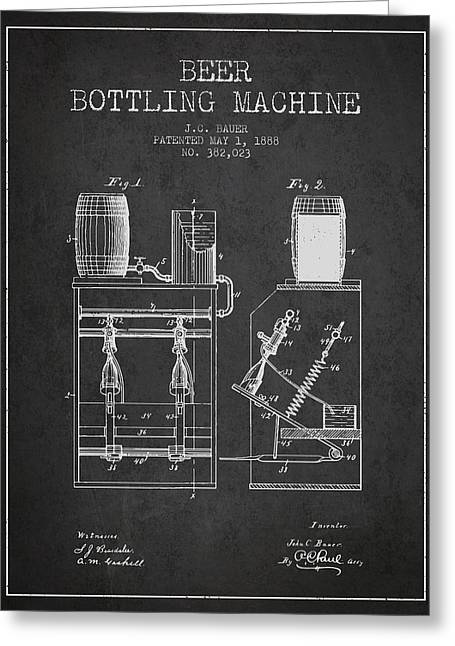 Technical Drawings Greeting Cards - 1888 Beer Bottling Machine patent - Charcoal Greeting Card by Aged Pixel