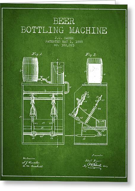 Technical Drawings Greeting Cards - 1888 Beer Bottling Machine patent - Green Greeting Card by Aged Pixel