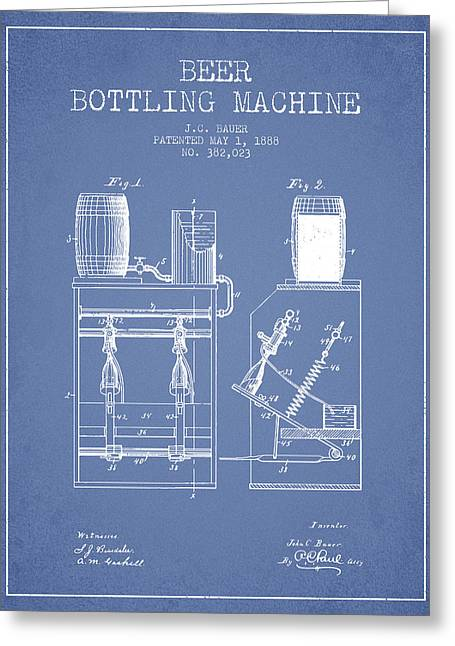 Beer Art Greeting Cards - 1888 Beer Bottling Machine patent - Light Blue Greeting Card by Aged Pixel
