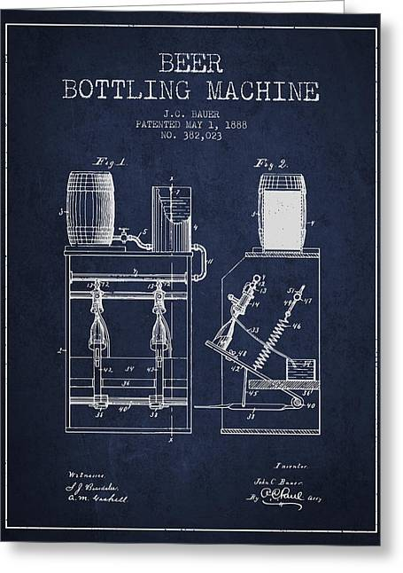 Beer Art Greeting Cards - 1888 Beer Bottling Machine patent - Navy Blue Greeting Card by Aged Pixel