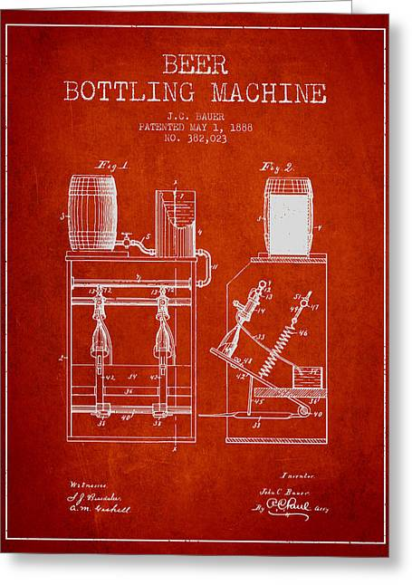 Bottle. Bottling Drawings Greeting Cards - 1888 Beer Bottling Machine patent - Red Greeting Card by Aged Pixel