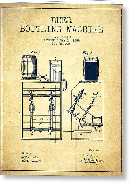 1888 Beer Bottling Machine Patent - Vintage Greeting Card by Aged Pixel