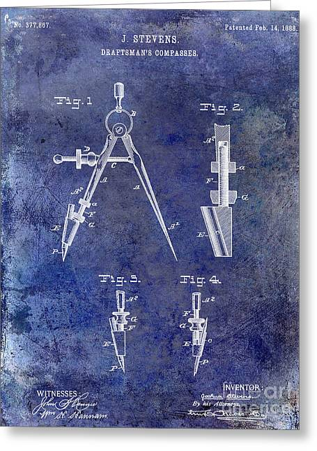 Compasses Greeting Cards - 1888 Draftsmans Compass Patent Blue Greeting Card by Jon Neidert
