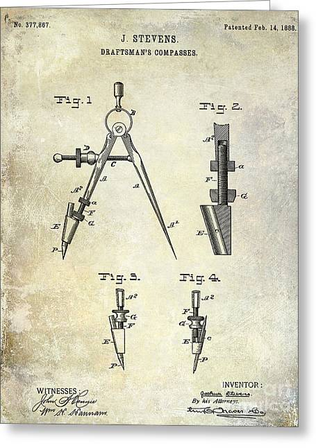 Compasses Greeting Cards - 1888 Draftsmans Compass Patent  Greeting Card by Jon Neidert