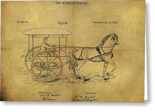 1888 Horse Carriage Patent Greeting Card by Dan Sproul