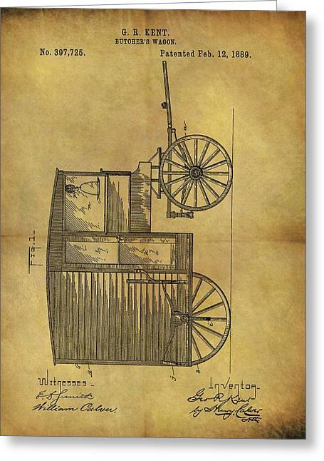 1889 Butcher's Wagon Patent Greeting Card by Dan Sproul