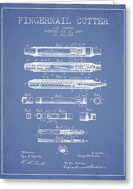 Fingernail Greeting Cards - 1889 Fingernail Cutter Patent - Light Blue Greeting Card by Aged Pixel