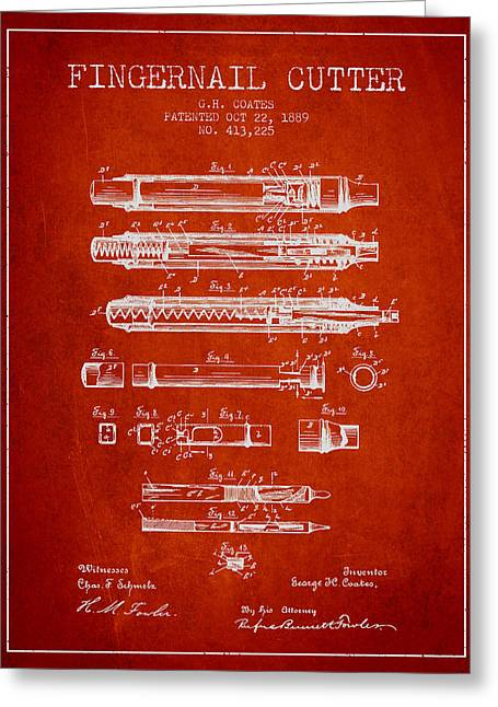 Fingernail Greeting Cards - 1889 Fingernail Cutter Patent - Red Greeting Card by Aged Pixel