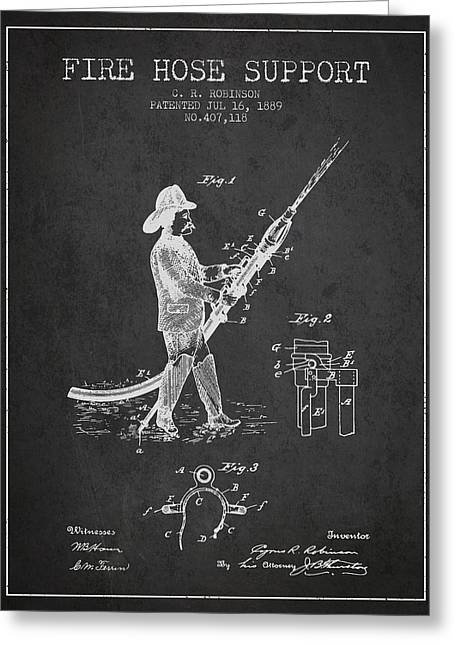 Fire Hose Greeting Cards - 1889 Fire Hose Support Patent - charcoal Greeting Card by Aged Pixel