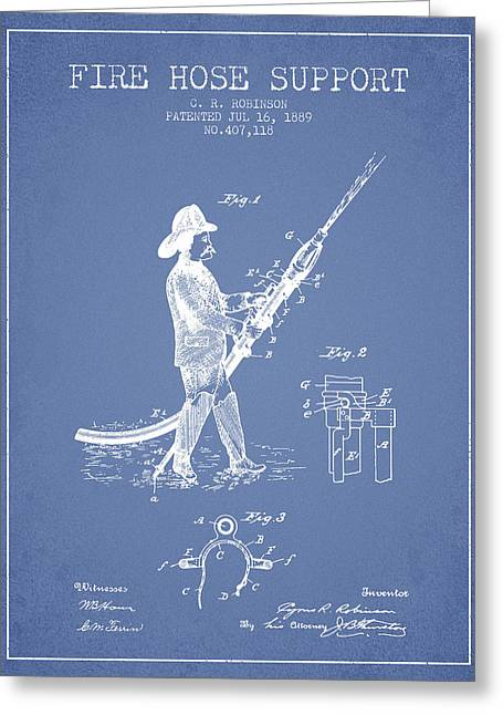Fire Hose Greeting Cards - 1889 Fire Hose Support Patent - light blue Greeting Card by Aged Pixel