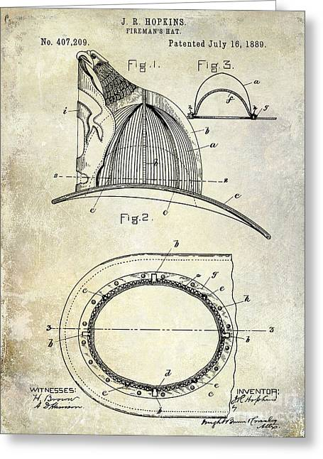 Fire Fighter Greeting Cards - 1889 Firemans Hat patent Greeting Card by Jon Neidert