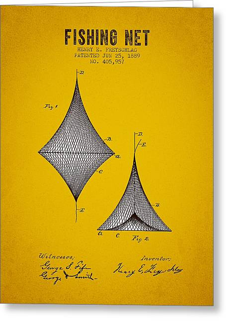 Fishing Rods Greeting Cards - 1889 Fishing Net Patent - Yellow Brown Greeting Card by Aged Pixel