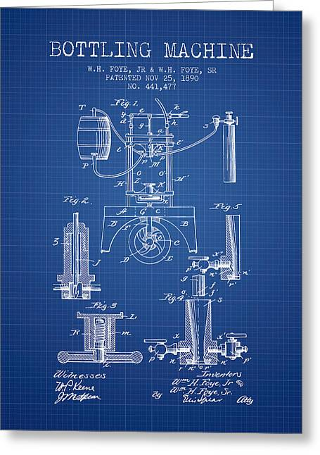 Bottle. Bottling Drawings Greeting Cards - 1890 Bottling Machine patent - blueprint Greeting Card by Aged Pixel