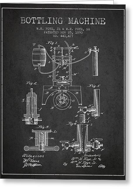 Bottle. Bottling Drawings Greeting Cards - 1890 Bottling Machine patent - Charcoal Greeting Card by Aged Pixel