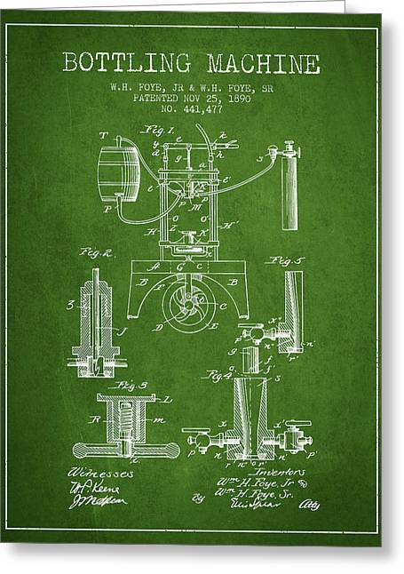 Bottle. Bottling Drawings Greeting Cards - 1890 Bottling Machine patent - green Greeting Card by Aged Pixel