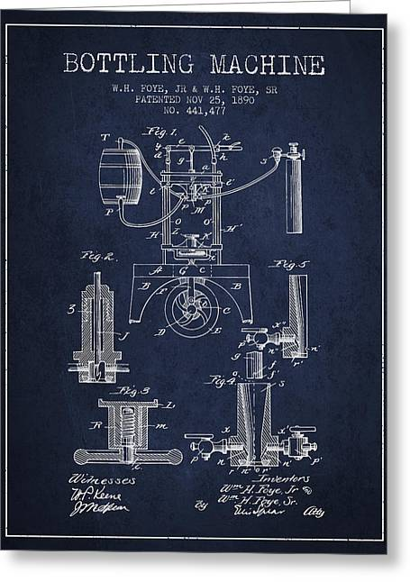 Bottle. Bottling Drawings Greeting Cards - 1890 Bottling Machine patent - navy blue Greeting Card by Aged Pixel