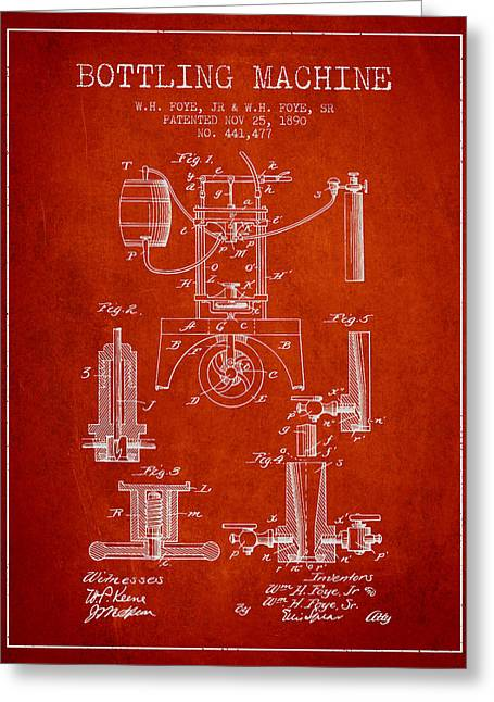 Bottle. Bottling Drawings Greeting Cards - 1890 Bottling Machine patent - red Greeting Card by Aged Pixel