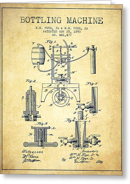 1890 Bottling Machine Patent - Vintage Greeting Card by Aged Pixel