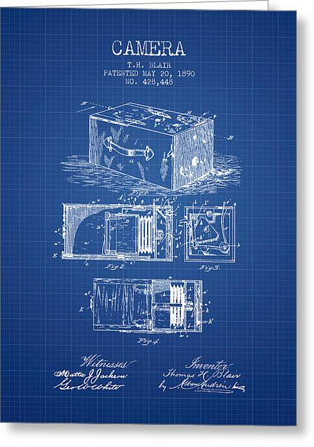 Camera Greeting Cards - 1890 Camera Patent - blueprint Greeting Card by Aged Pixel