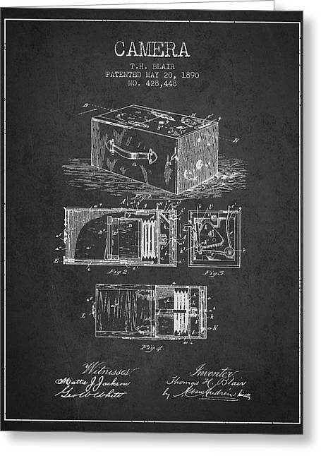 Camera Greeting Cards - 1890 Camera Patent - charcoal Greeting Card by Aged Pixel