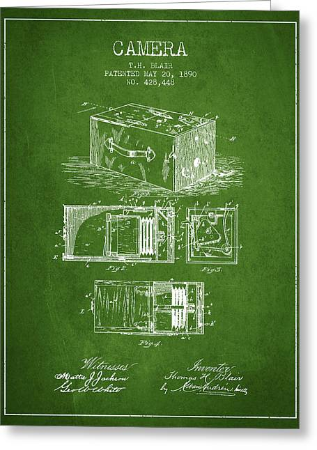 Camera Greeting Cards - 1890 Camera Patent - green Greeting Card by Aged Pixel
