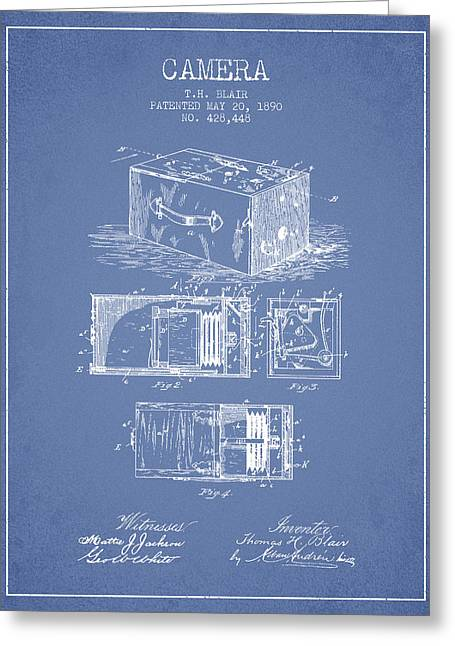 Camera Greeting Cards - 1890 Camera Patent - light blue Greeting Card by Aged Pixel