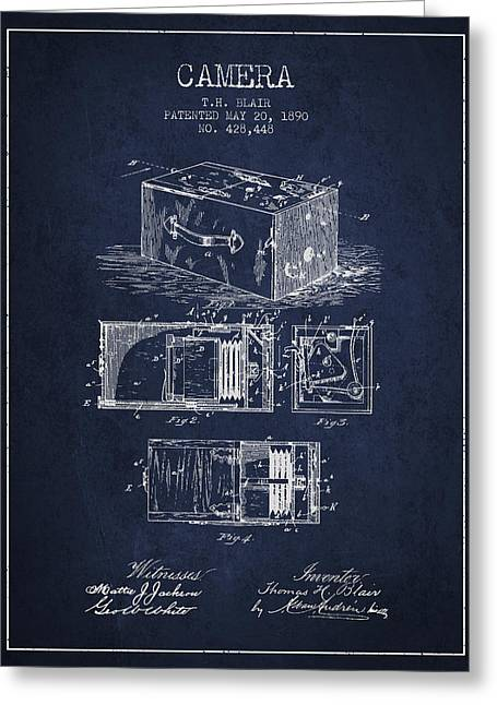 Camera Greeting Cards - 1890 Camera Patent - navy blue Greeting Card by Aged Pixel