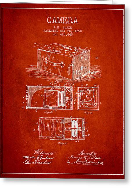 Camera Greeting Cards - 1890 Camera Patent - red Greeting Card by Aged Pixel
